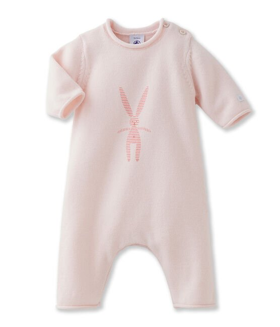 Unisex baby long all-in-one in wool and cotton knit with rabbit print Fleur pink