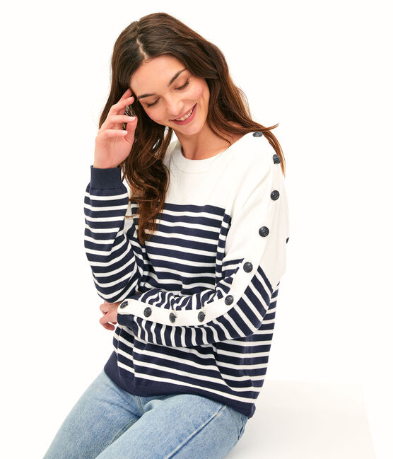 Women's Pullover Smoking blue / Marshmallow white
