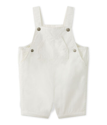 Baby boys' striped short dungarees Marshmallow white