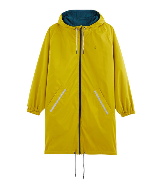 Women's reversible long windbreaker Bamboo yellow / Pinede green