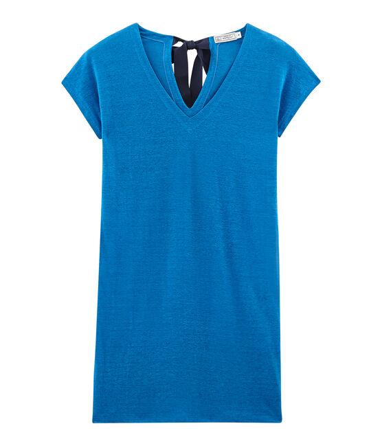 Women's linen short-sleeved dress Riyadh blue