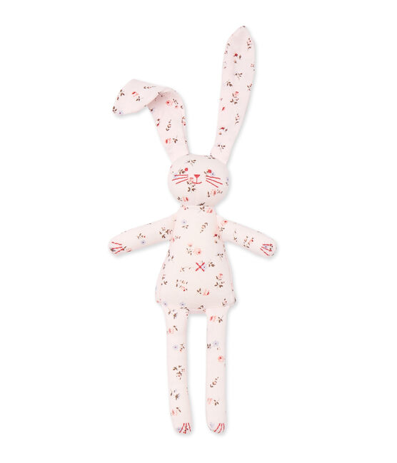 Doudou lapin bébé mixte imprimé Vienne pink / Multico white