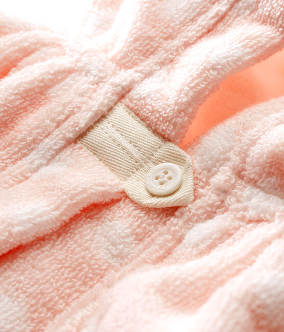 Baby Girls' Towelling Bath Cape Minois pink / Lait white