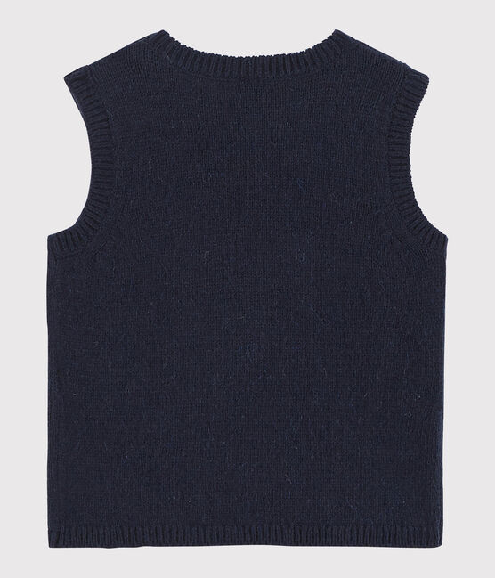 Baby's sleeveless knitted pullover. Smoking blue