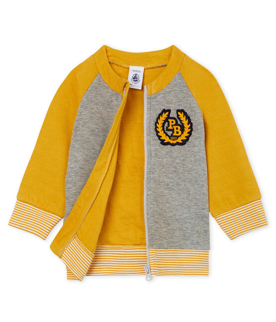 Baby Boys' Zip-Up Tube Knit Cardigan Subway grey / Boudor yellow