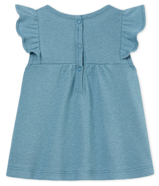 Baby girls' cotton/linen blouse Fontaine blue