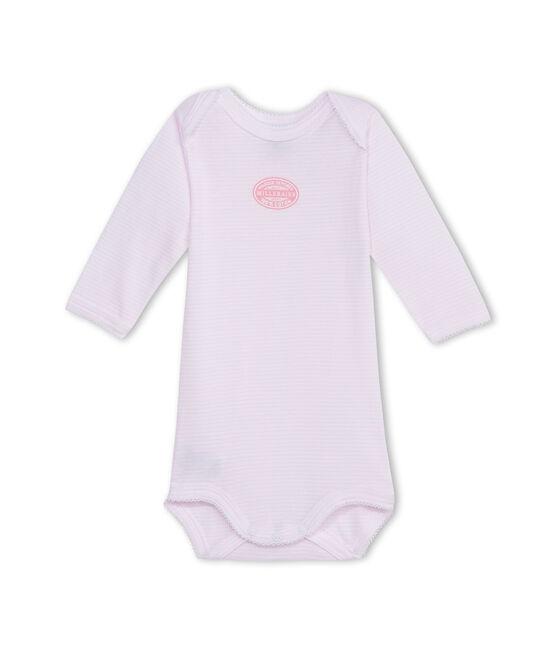 Baby girl long-sleeve bodysuit in milleraies stripe Vienne pink / Ecume white