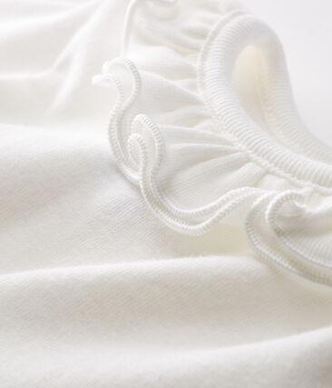 Long-sleeved bodysuit with ruff collar for baby girls Marshmallow Cn white