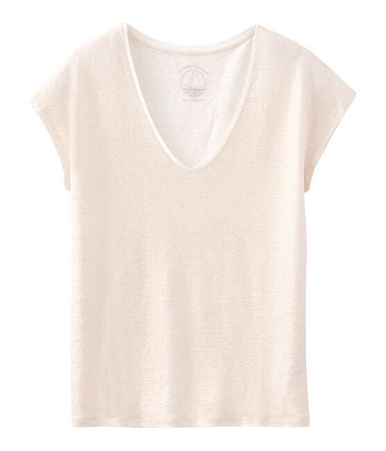 Women's iridescent linen short-sleeved t-shirt Marshmallow white / Copper pink