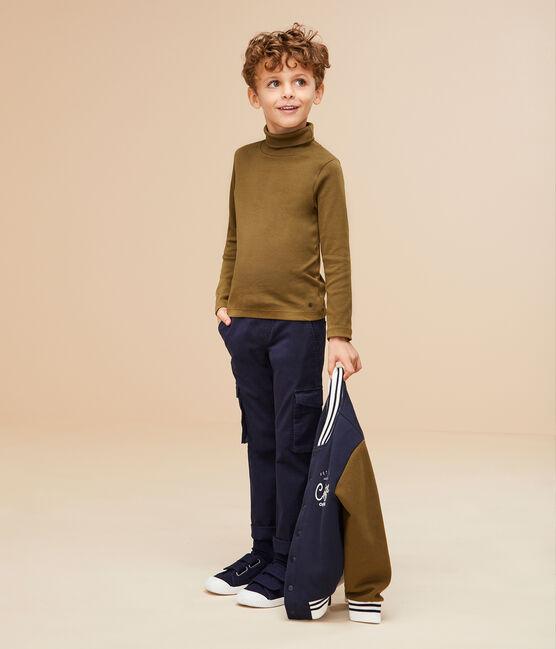 Boys' Gabardine Cargo Trousers Smoking blue
