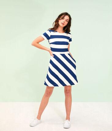 Women's Dress Medieval blue / Marshmallow white