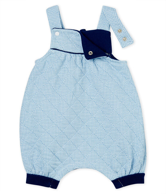 Babies' Quilted Tube-Knit Dungaree Shorts Acier blue / Marshmallow white