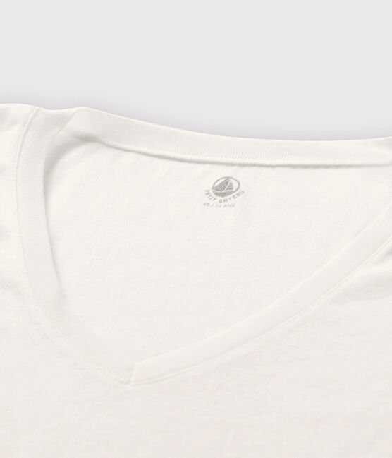 Women's fine rib knit T-shirt Marshmallow white
