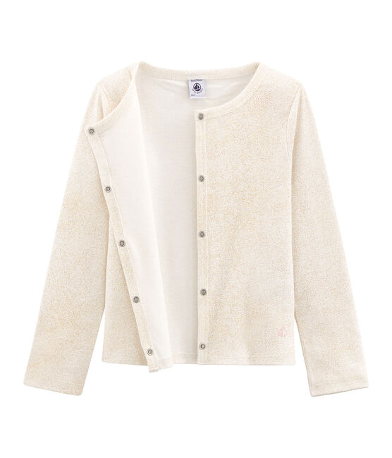 Girls' Cardigan Marshmallow white / Copper pink