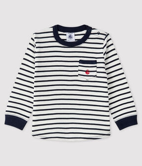 Baby boy's t-shirt Marshmallow white / Smoking blue