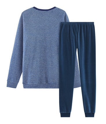 Boys' Dual Material Pyjamas Major blue / Subway grey