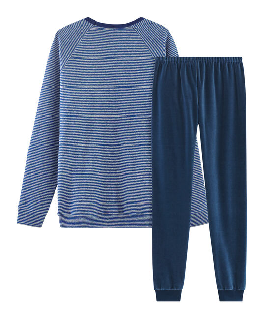 Boys' Dual Material Pyjamas Major blue / Subway grey