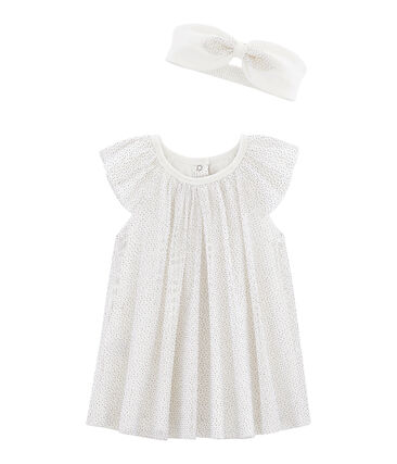 Baby Girls' Short-Sleeved Dress with Headband Marshmallow white / Or yellow