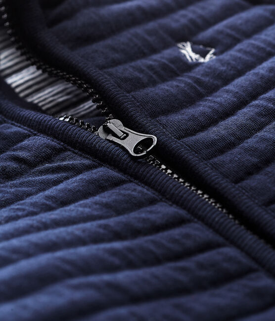 Baby boys' jacket in quilted tube knit Smoking blue