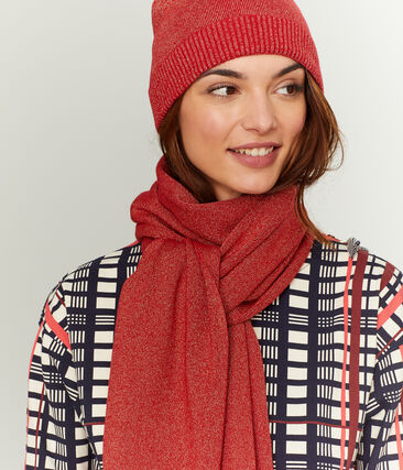 Women's Shiny Scarf Terkuit red / Terkuit Brillant red