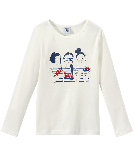 Girl's long-sleeved screen print T-shirt Marshmallow white