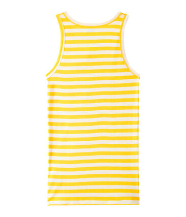 Women's vest top in heritage striped rib Shine yellow / Marshmallow white