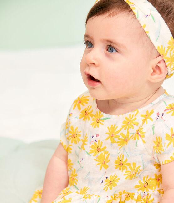 Baby Girls' Short-Sleeved Linen Dress Marshmallow white / Multico white