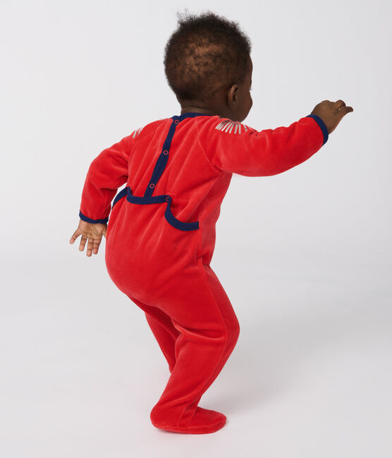 Babies' Velour Sleepsuit Froufrou red