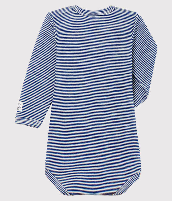 Babies' Striped Long-Sleeved Bodysuit in Cotton/Wool Medieval blue / Marshmallow white