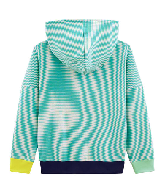 Child's Ribbed Hoody Esperanza green / Marshmallow white