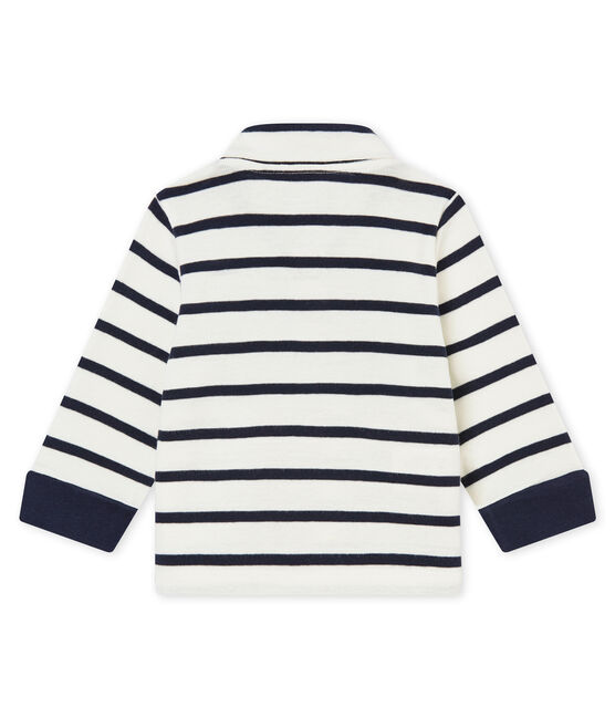 Baby boy's sailor striped polo shirt Marshmallow white / Smoking blue