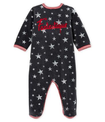 Baby Boys' Velour Sleepsuit Capecod grey / Argent grey