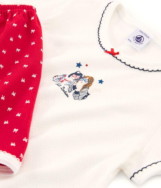Girls' short Pyjamas Terkuit red / Marshmallow white