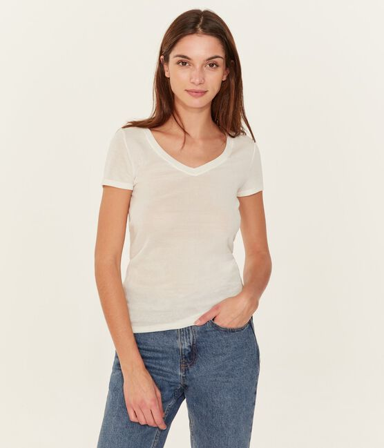 Women's Short-Sleeved V-Neck T-Shirt Marshmallow white