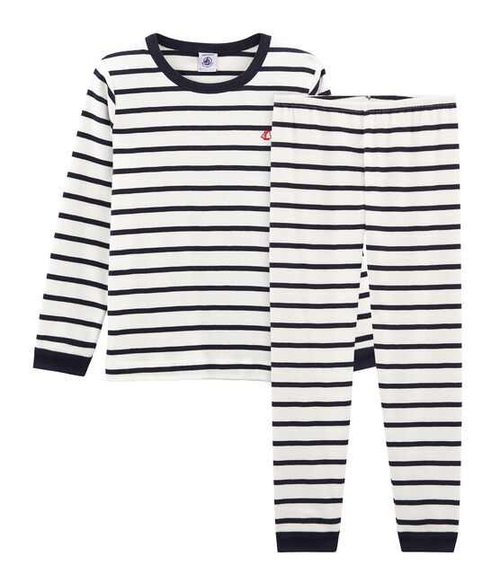 Boys' Ribbed Pyjamas Marshmallow white / Smoking blue