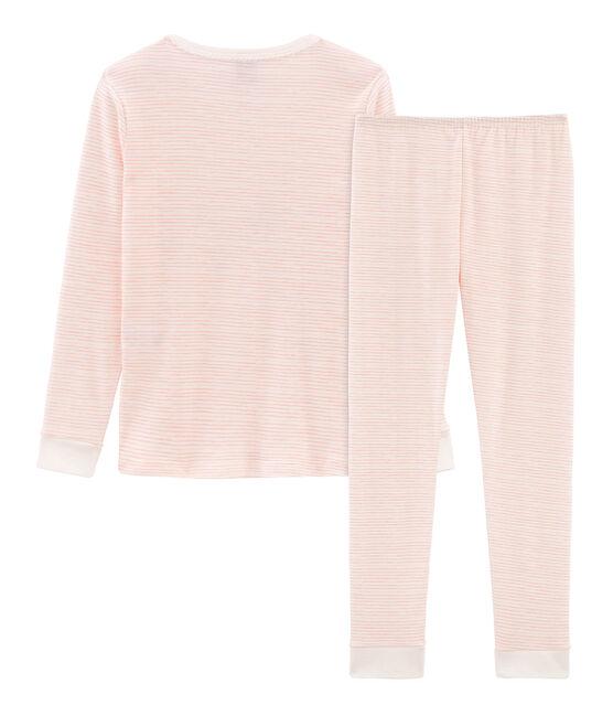 Girls' Snugfit Pyjamas Marshmallow white / Rosako pink