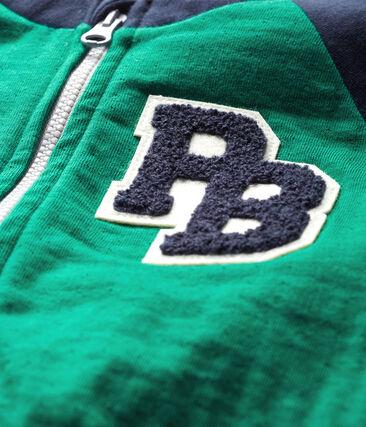 Baby Boys' Zip-Up Tube Knit Cardigan Ecology green / Smoking blue