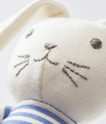 Unisex baby rabbit rattle comforter Smoking blue / Marshmallow white