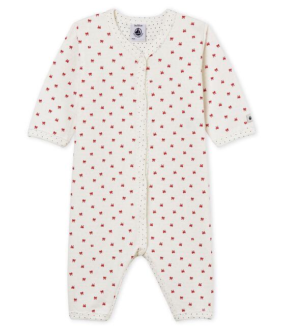Baby Girls' Tube Knit Sleepsuit Marshmallow white / Terkuit red