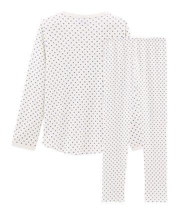 Girls' Ribbed Pyjamas Marshmallow white / Major blue