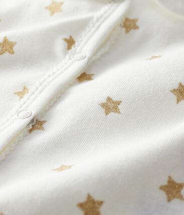 Baby Girls' Rib Knit Playsuit Marshmallow white / Or yellow