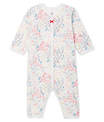 Baby Girls' Footless Tube-Knit Sleepsuit Marshmallow white / Multico white