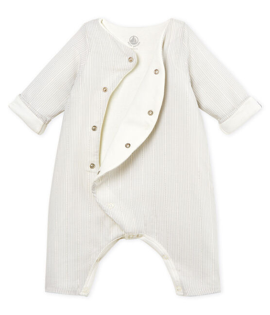 Baby boys' striped long jumpsuit Marshmallow white / Perlin beige