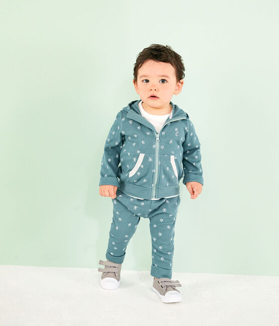 Unisex Baby's Print Hoody Brut blue / Marshmallow white