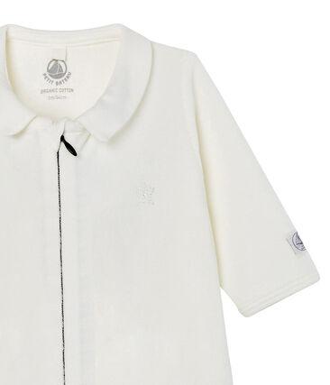 Babies' Zip-Up Velour Sleepsuit Marshmallow white
