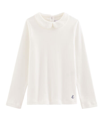 Girl's T-shirt with Peter Pan collar Marshmallow white