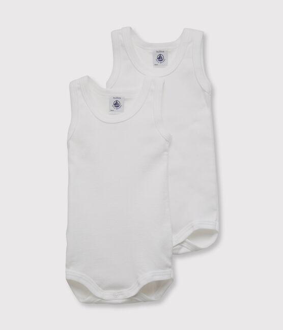 Set of 2 baby boys' sleeveless white bodysuits . set