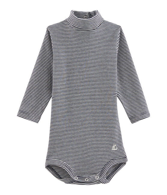 Unisex Babies' Long-Sleeved Roll-Neck Bodysuit Smoking blue / Lait white