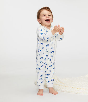 Baby Boys' Nightwear Set in Extra Warm Brushed Terry Towelling Marshmallow white / Major blue