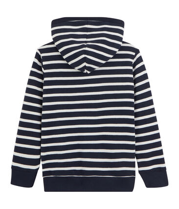 Boys' Hooded Sweatshirt Marshmallow white / Smoking blue